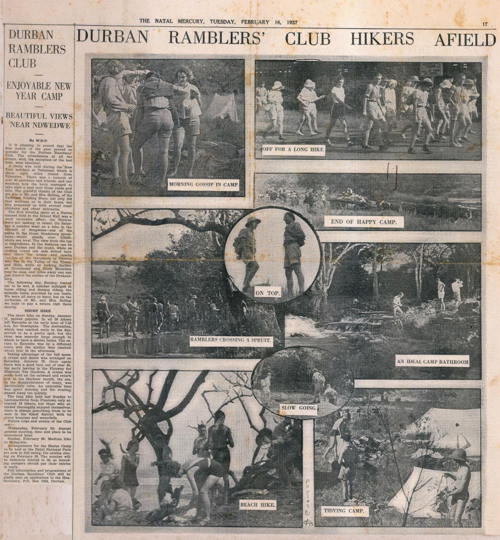 Durban Ramblers Afield Natal Mercury Feb 1937